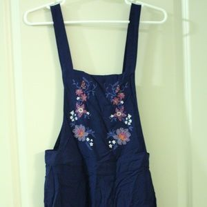 H&M Navy & Floral Bib Overalls